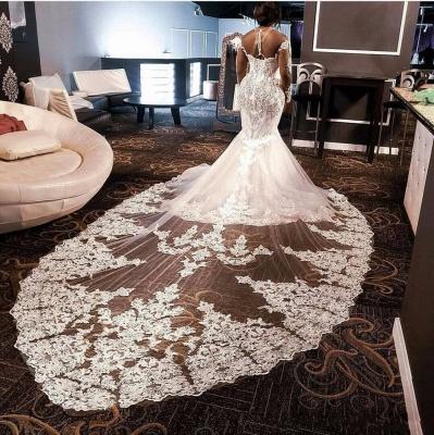 Luxurious Plus Size High Neck Long Sleeve Lace Beading Mermaid Wedding Dress With illusion Tulle_3