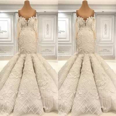 Off the Shoulder Lace Mermaid Wedding Dresses | Bridal Gowns with Sleeves_2