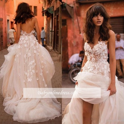 Tulle Glamorous Flowers V-Neck Sleeveless Wedding Dresses_1