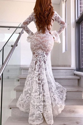 Sexy Deep V-Neck Lace Wedding Dresses | Long Sleeves Sheer Mermaid Evening Dresses_3