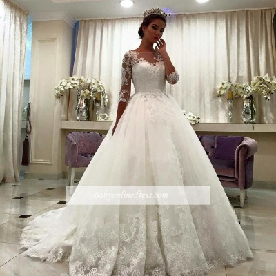 Half Sleeve Bateau Chapel Train Appliques Lace Ball Gown Wedding Dresses_1
