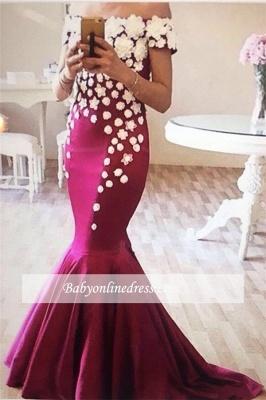 2018 Mermaid Appliques Off-The-Shoulder Elegant Flowers Evening Dress_1