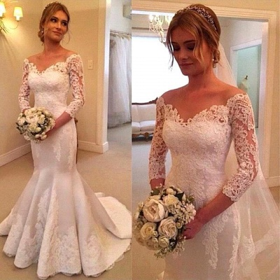 Lace Appliques Off-the-Shoulder Mermaid Wedding Dresses with 3/4 Sleevesless_3