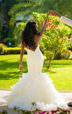 Hot Organza Mermaid Beach Wedding Dresses Backless Sweetheart Pearls Bridal Gowns_1