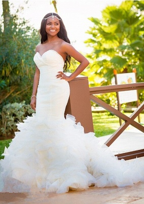 Hot Organza Mermaid Beach Wedding Dresses Backless Sweetheart Pearls Bridal Gowns_6