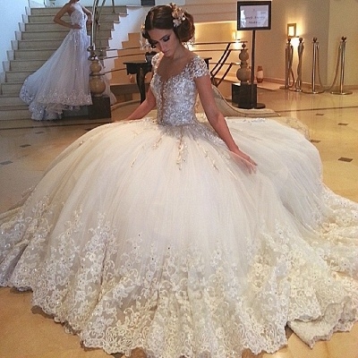Cap-Sleeves Tulle Beaded Ball Gown Crystals Lace Gorgeous Wedding Gowns_3