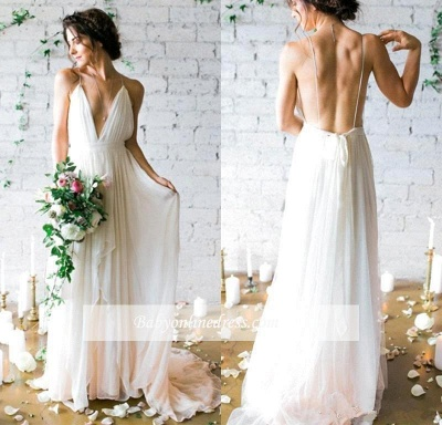 V-Neck Beach Chiffon Sleeveless Long Elegant Wedding Dress_1