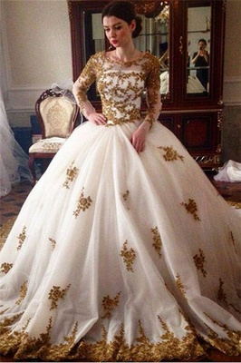 Elegant Tulle Appliques Wedding Ball Gowns Long Sleeves Bridal Gowns_1