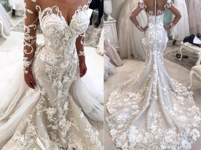 Luxury Floral Appliques Mermaid Wedding Dresses | Long Sleeves Bridal Gowns with Removable Train_4