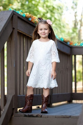 Cute Lace White Half-Sleeve A-line Knee Length Flower Girl Dress