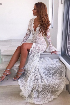 Sexy Deep V-Neck Lace Wedding Dresses | Long Sleeves Sheer Mermaid Evening Dresses_4