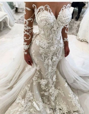 Luxury Floral Appliques Mermaid Wedding Dresses | Long Sleeves Bridal Gowns with Removable Train_3