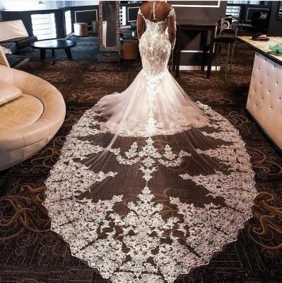 Luxurious Plus Size High Neck Long Sleeve Lace Beading Mermaid Wedding Dress With illusion Tulle_2