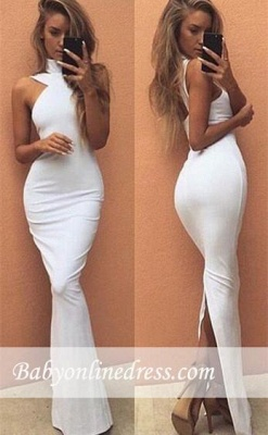 Sexy White Long High-Neck Evening Gowns Sleeveless Prom Dress_3