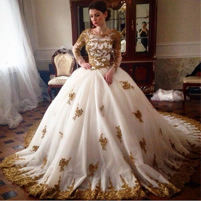 Elegant Tulle Appliques Wedding Ball Gowns Long Sleeves Bridal Gowns_3