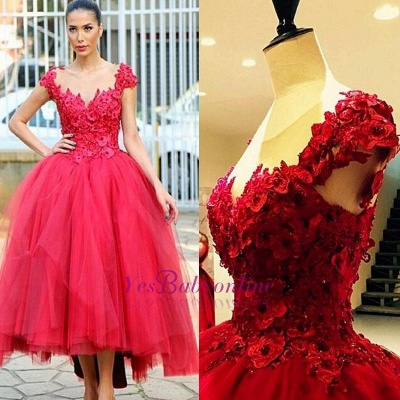 Ball-Gown Hi-lo Cap-Sleeves Flowers Prom Dress Tired Pearls Evening Gowns_1