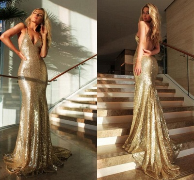 2018 Sexy Sequined Mermaid Evening Gowns Gold Backless Halter Party Dresses_4