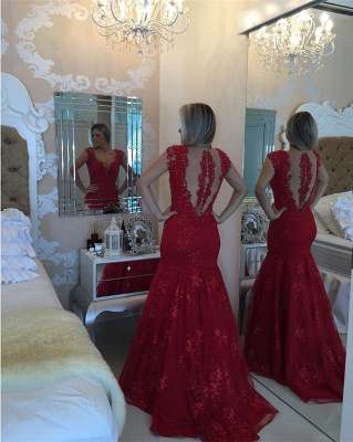 Mermaid Pearls Cap-Sleeve Lace Red V-neck Delicate Prom Dress_5