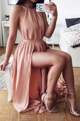 Sexy Halter Backless Prom Dresses A-Line Side Slit Party Dress_1