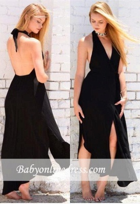 Sexy Halter Backless Front-Split Sleeveless Black Prom Dress_1