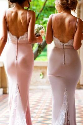 Sexy Mermaid Bridesmaid Dresses | Spaghetti Straps Lace Appliques Long Prom Dresses_4
