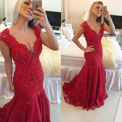 Mermaid Pearls Cap-Sleeve Lace Red V-neck Delicate Prom Dress_3