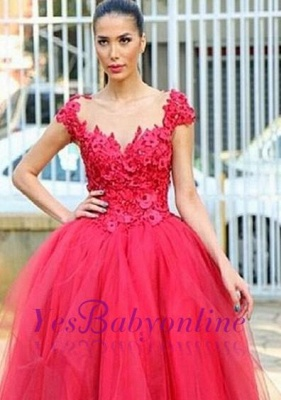 Ball-Gown Hi-lo Cap-Sleeves Flowers Prom Dress Tired Pearls Evening Gowns_3
