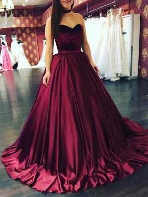 Sleeveless Sweetheart Sweep-Train Elegant Puffy Prom Dresses_3