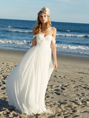 Sexy Long Chiffon Summer Beach Wedding Dresses Sheath off-the-shoulder Sweetheart_1