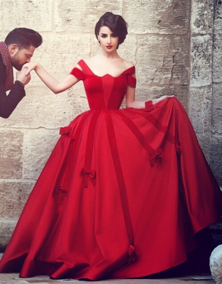2020 Ball Gown Wedding Dresses Off-Shoulder Burgundy Red with Bowknots Bridal Gowns_4