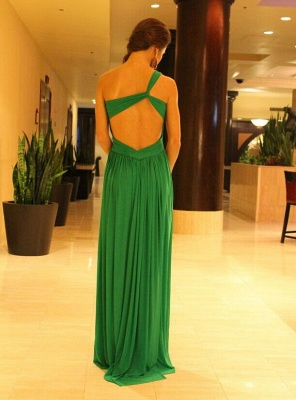 Ruched Chiffon Green One-shoulder Prom Dresses Formal Long Evening Gowns_3