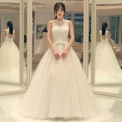 A-line Bow Sleeveless Lace-up Sweep Train Elegant Wedding Dresses_3