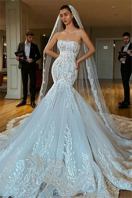 Charming Strapless Lace Up Back Lace Fit And Flare Mermaid Wedding Dress_1