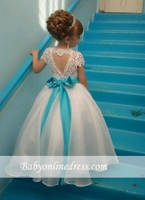 Puffy Crystals Short-Sleeves Lace with Blue Sash Flower Girl's Dresses_1