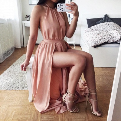 Sexy Halter Backless Prom Dresses A-Line Side Slit Party Dress_3