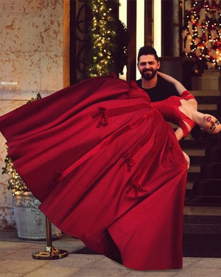 2020 Ball Gown Wedding Dresses Off-Shoulder Burgundy Red with Bowknots Bridal Gowns_2