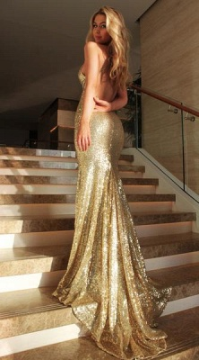 2018 Sexy Sequined Mermaid Evening Gowns Gold Backless Halter Party Dresses_3