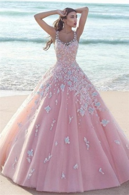 Exquisite Pink Floral Prom Dresses Straps Tulle Ball Gown Evening Dresses_1