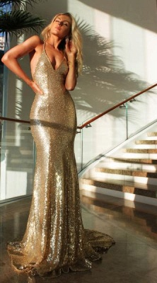 2018 Sexy Sequined Mermaid Evening Gowns Gold Backless Halter Party Dresses_1