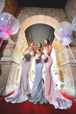 Sexy Mermaid Bridesmaid Dresses | Spaghetti Straps Lace Appliques Long Prom Dresses_3