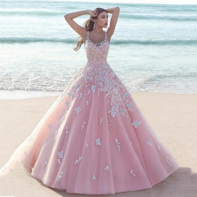 Exquisite Pink Floral Prom Dresses Straps Tulle Ball Gown Evening Dresses_3
