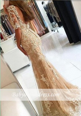 2018 Champagne Mermaid Lace Prom Dresses Open-Back Half-Sleeves Evening Gowns LY137_1