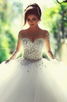 Sweetheart Crystals Ball Gown Wedding Dresses Sheer Long Sleeves Bridal Gowns_1