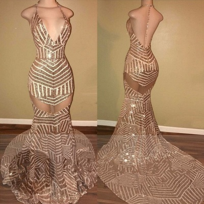 Backless Mermaid Sequins Halter-Neck Sheer Prom Dresses LY163_2