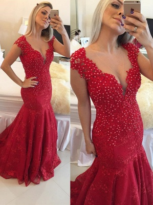 Mermaid Pearls Cap-Sleeve Lace Red V-neck Delicate Prom Dress_2
