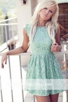 New Cheap Mint Lace Miniskirt Sleeveless Bateau Pretty Homecoming Dress_1