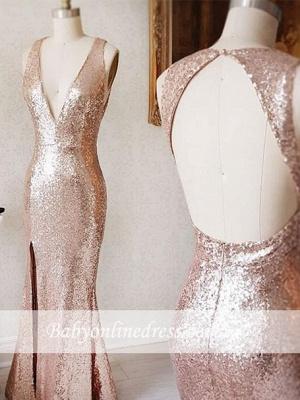 Split-Front Deep-v-neck Backless Beading Sequin Sheath Prom Dress_1