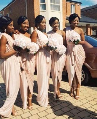 Elegant Long A-line One-Shoulder Sleeveless Front-Split Bridesmaid Dress_3