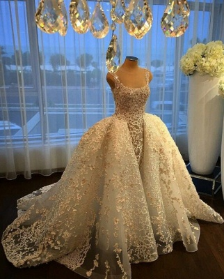 Gorgeous Ball Gown Wedding Dresses Lace Appliques Bridal Gowns with Overskirt_5
