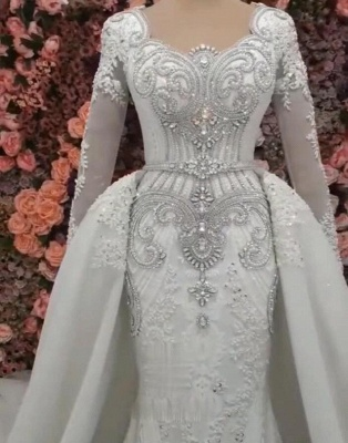 Mermaid Detachable Train Wedding Dresses   Luxury Crystal Bridal Gowns with Sleeves_3